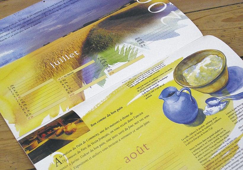 illustration aquarelle été calendrier 2003 des parces naturels régionaux d'ile-de-France