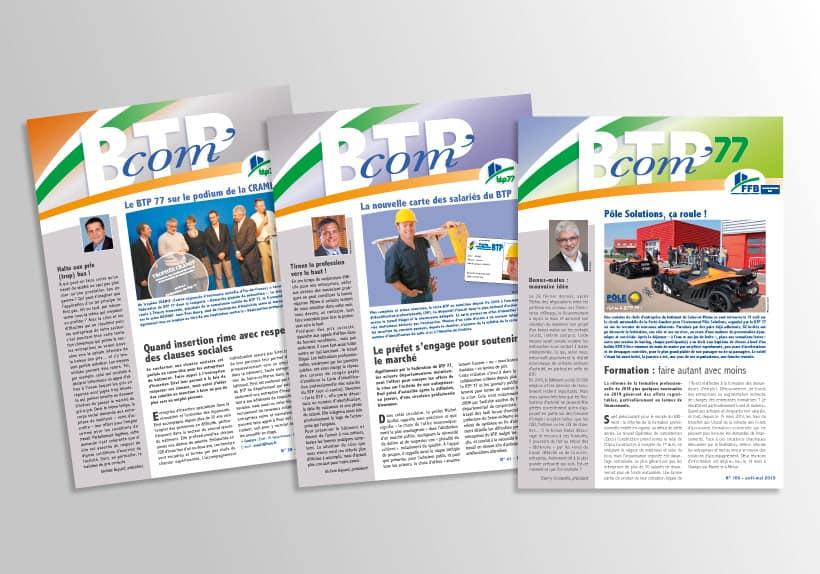 couverture de journaux du BTP'com journal interne du BTP77