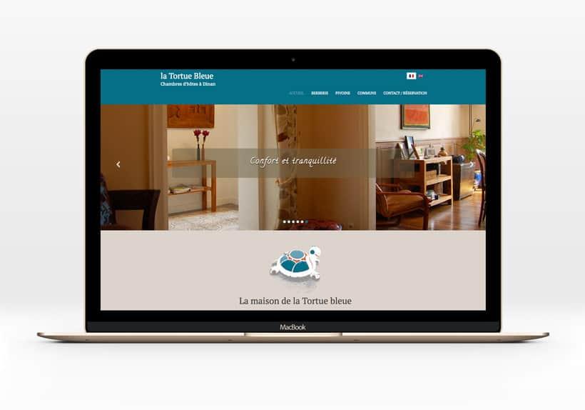 écran Macbook avec site de chambres d'hôtes la tortue bleue