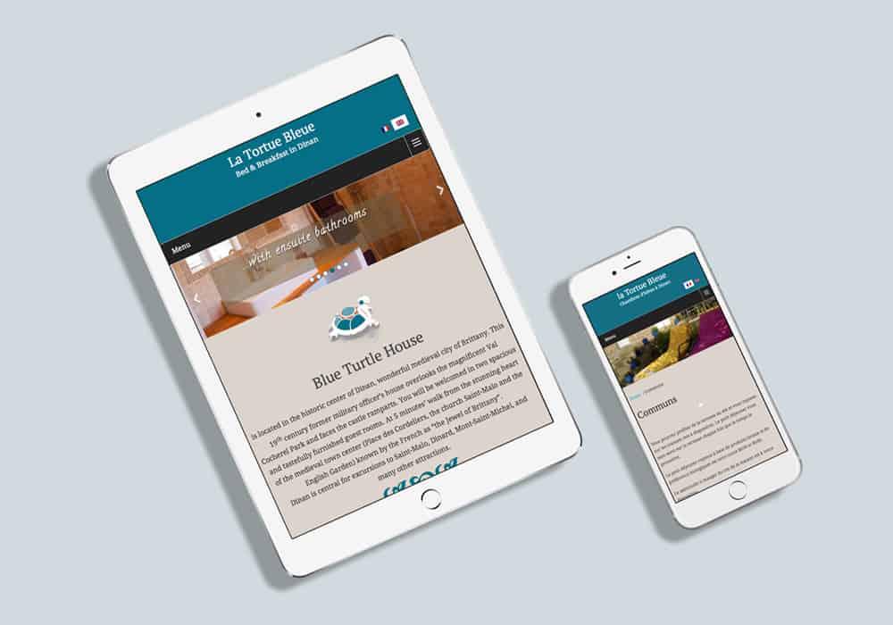 écrans IPad et IPhone avec site de chambres d'hôtes la tortue bleue