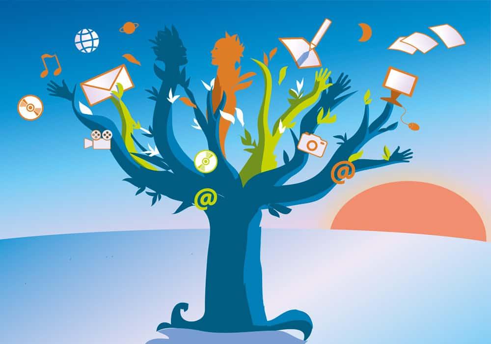 illustration avec arbre et branches qui parlent pour une carte de vœux