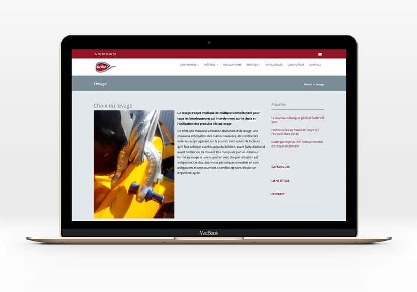page levage sur macbook site internet godet.fr